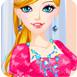 可爱的女孩为芭比娃娃设计衣服