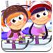 孩子们冬季滑雪