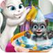 安吉拉为小汤姆洗澡澡