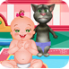 照顾小婴儿和汤姆猫