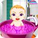 可爱的小女孩洗澡